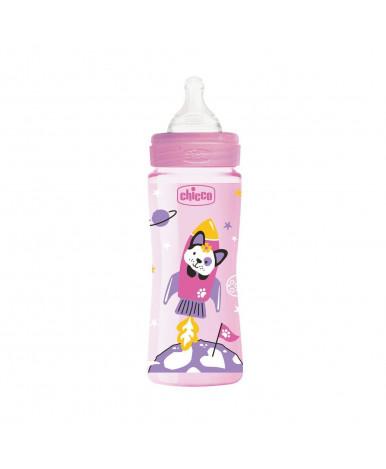 Бутылочка Chicco Well-Being Girl с силиконовой соской, 330мл