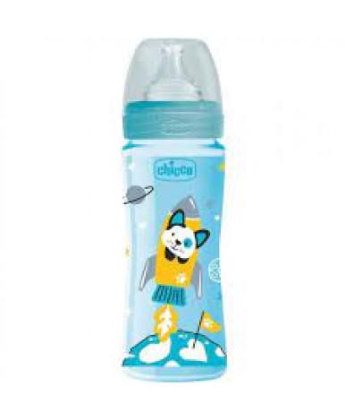 Бутылочка Chicco Well-Being Boy с силиконовой соской, 330мл