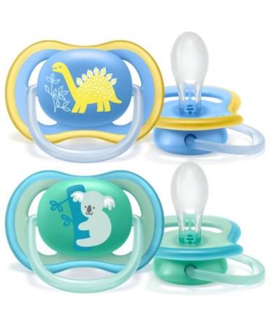 Пустышка Avent Ultra Air силиконовая для мальчика декор 18+
