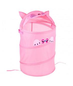 Корзина для игрушек Котенок с ручками и крышкой, розовая