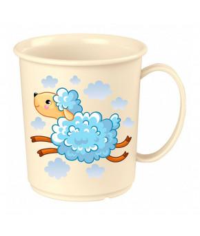 Кружка Пластишка детская с декором светло-голубой 180мл 12+