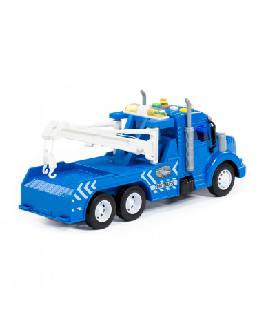 Автомобиль - эвакуатор инерционный Полесье Профи со светом и звуком синий (в коробке)