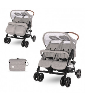 Детская коляска для двойни Lorelli Twin Steel Grey 2021