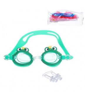 очки для плавания детск. + беруши SS30 силикон 581627