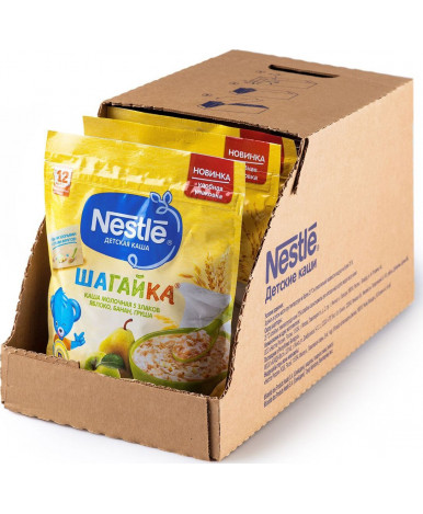 Каша Nestle шагайка 5 злаков яблоко банан груша дой-пак 200г