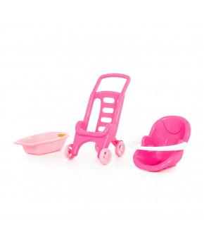 Коляска Полесье для кукол Pink Line 3х1 (в сеточке)