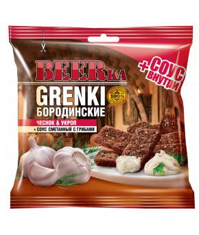 Гренки BEERka Бородинские 60г+25 мл чеснок укроп + соус