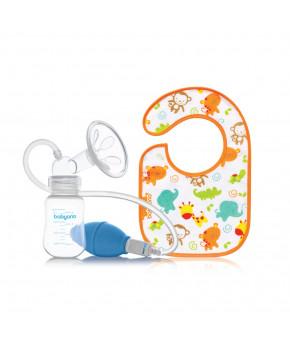 Молокоотсос ручной BabyOno с системой оттока воздуха+нагрудник+емкость для хранения молока, 125мл
