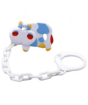 Держатель для пустышки BabyOno с цепочкой Голубая корова
