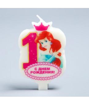 Свеча в торт 1 С Днем Рождения Дисней Принцесса русалочка 5х7.8см