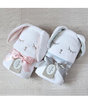 Полотенце Perina Лапушка с капюшоном розовое 95х95см