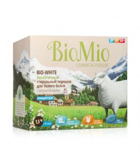 Стиральный порошок BioMio Bio-white для белого белья, с экстрактом хлопка, 1.5кг