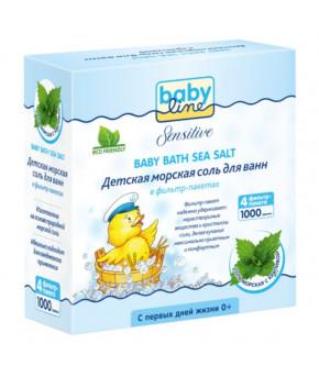 Детская морская соль для ванн BabyLine с крапивой 1000г 4х250г