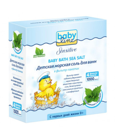 Детская морская соль для ванн BabyLine с крапивой 1000г (4х250г)