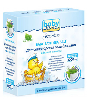 Детская морская соль для ванн BabyLine с целебными травами,1000г (4х250г)