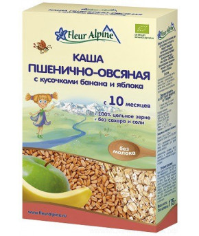 Каша Fleur Alpine Organic пшенично-овсяная банан и яблоко цельнозерновая безмолочная, 175гр