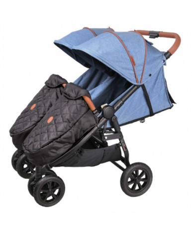 Детская коляска для двойни Coletto Enzo twin джинс