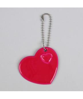 Светоотражающий элемент Сердце на цепочке 5*5,5см розовый