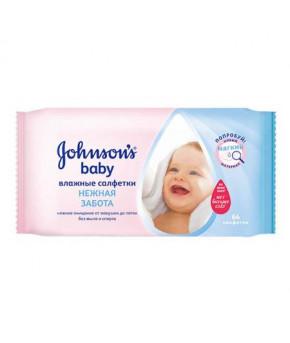 """Салфетки влажные """"Johnson`s Baby"""" нежная забота + крем, 64шт"""