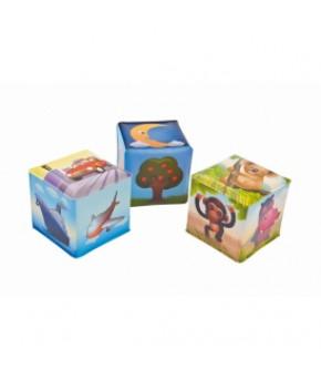 Развивающие кубики Canpol клеенчатые с погремушкой