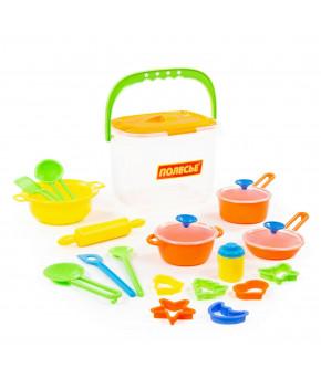 Набор детской посуды Полесье 20 элементов (в ведёрке)