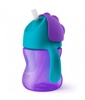 """Поильник """"Avent""""с трубочкой фиолетово-бирюзовый 200мл, 9+"""