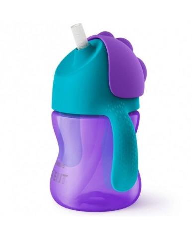 Поильник Avent с трубочкой фиолетово-бирюзовый 200мл, 9+
