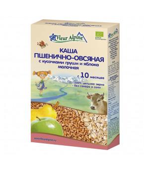 Каша Fleur Alpine Organic пшенично-овсяная с кусочками груши и яблока молочная, 200гр