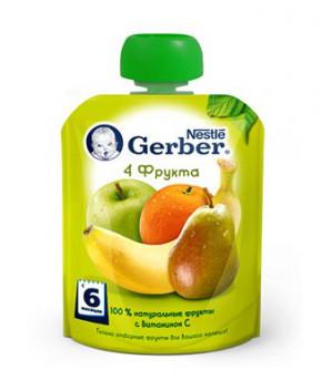"Пюре ""Gerber"" gualapack 4 фрукта, 90гр"
