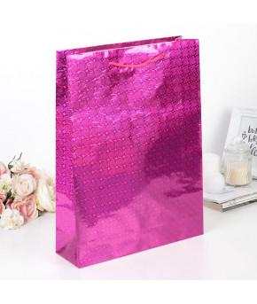 Пакет голография розовый 32х45х10 см