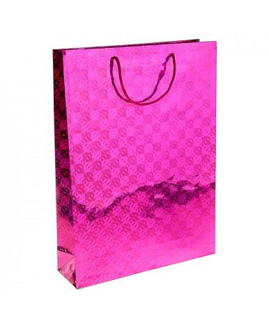 Пакет голография 32 х 45 х 10 см, цвет розовый, рисунок МИКС