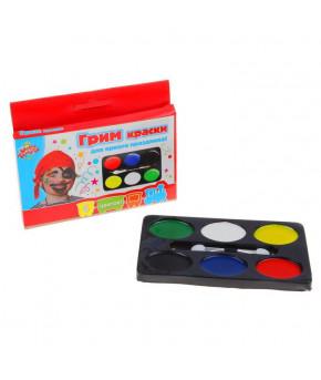 Грим-краски для лица и тела + апликатор 6 цветов