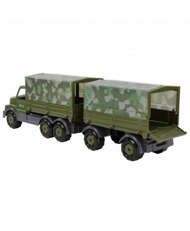 Автомобиль Полесье Сталкер бортовой тентовый военный с прицепом (KZ)