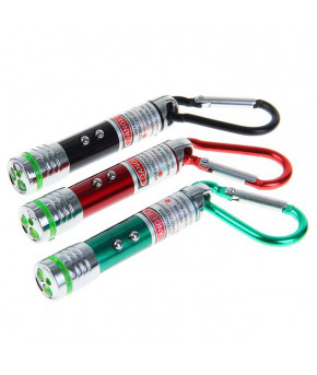 Фонарик карманный с карабином 2 LED 2 режима лазер микс, 7х1.4 см