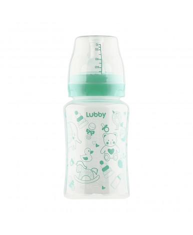 """Бутылочка """"Lubby"""" Классика платисковая с силиконовой соской широкое горло от 0мес, 250мл"""