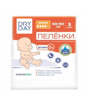 Пелёнки гигиенические одноразовые впитывающие DRY DAY, детские 0+, Super, 60х90, 5шт