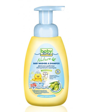 Средство для купания BabyLine Nature с маслом оливы для детей с дозатором 260мл