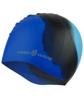 Шапочка для плавания подростковая Mad Wave силиконовая Multi, голубая