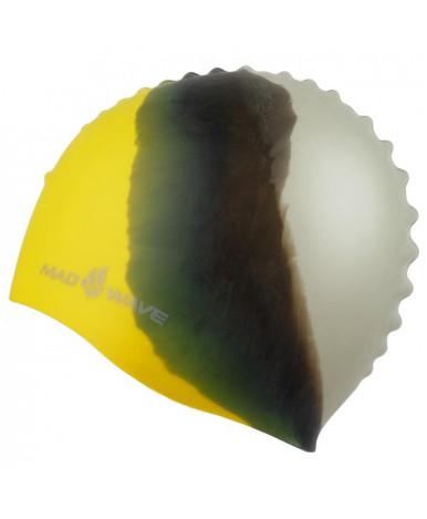 Шапочка для плавания подростковая Mad Wave силиконовая Multi, жёлтая