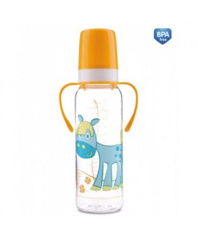 """Бутылочка """"Canpol"""" Веселые животные, пластиковая, силиконовая соска, быстрый поток 250мл (12+)"""