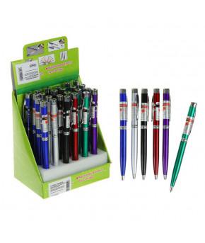 Фонарик карманный с шариковой ручкой, 2 света, микс, 13.5х1 см