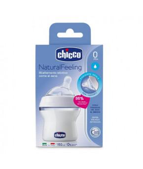 Бутылочка Chicco Natural Feeling с силиконовой соской с наклоном 0 мес+, 150 мл