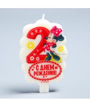 "Свеча в торт  2  ""С Днем Рождения"" Минни Маус, 4.8 х 7.9 см"