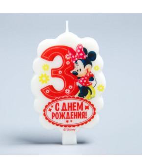 "Свеча в торт  3 ""С Днем Рождения"" Минни Маус, 4.9 х 7.8  см"