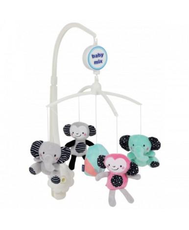 Каруселька BabyMix Слоны и обезьянки с плюшевыми игрушками