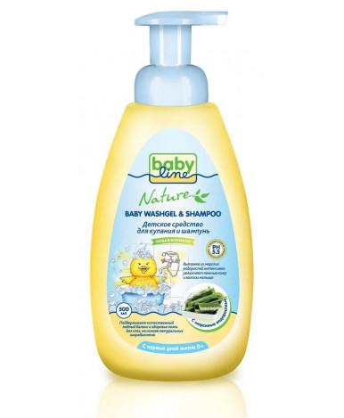 Средство для купания BabyLine Nature + шампунь с водорослями 500мл