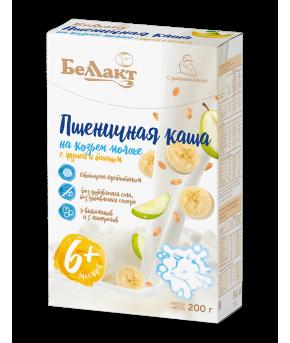 Каша Беллакт на козьем молоке пшеничная с грушей и бананом 200г