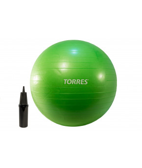 """Мяч для фитнеса """"TORRES"""", диаметр  55 см., система """"Антивзрыв"""", нагрузка до 300 кг, с насосом, зелен"""