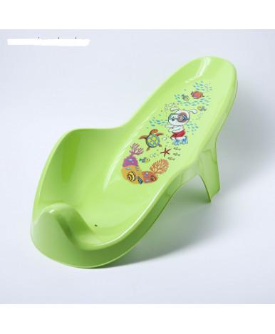 Горка для купания Пластишка с декором зеленый