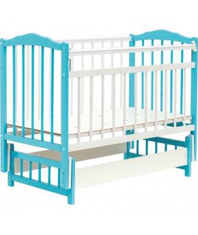 Кровать детская Bambini Classic 11, белый/голубой